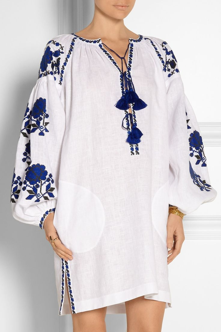 Vita Kin linen folk dress. Russian traditional embroidery. White and blue