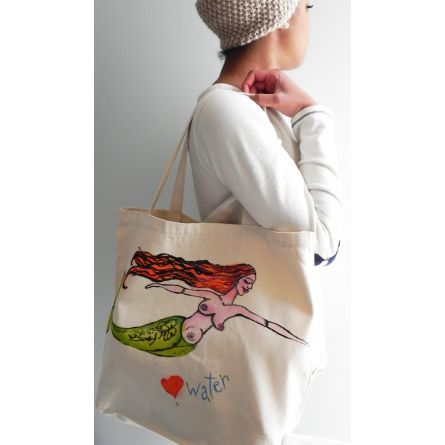 Gifts :: For Her :: Mermaid Cotton Tote Bag Screenprint with Handpainted Details