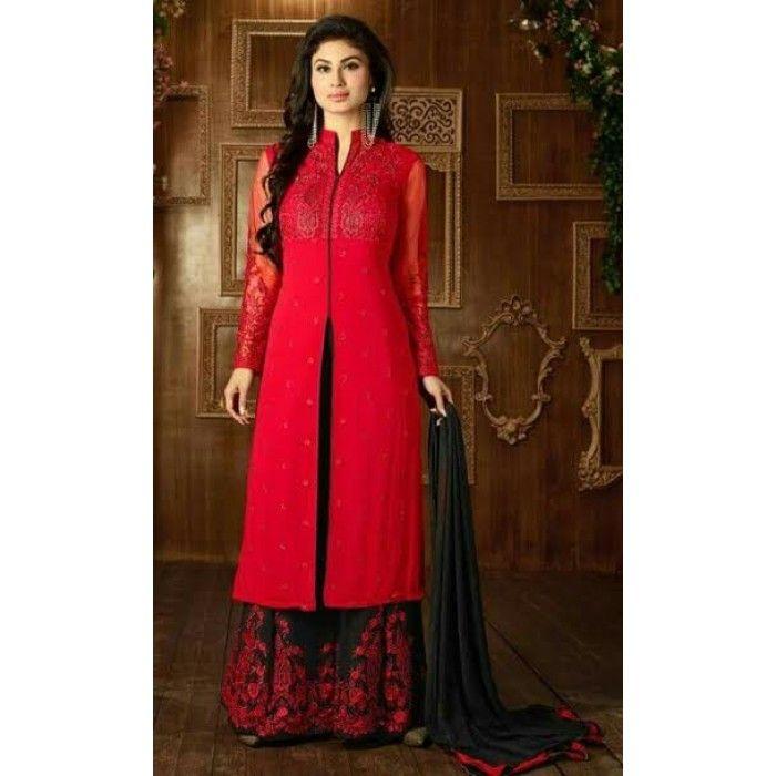 Red Designer Kameez Skirt
