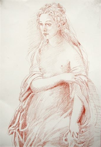 Jodhi May Pre Raphaelite style portrait for TV film 'Daniel Deronda'. Conte on paper by Timna Woollard