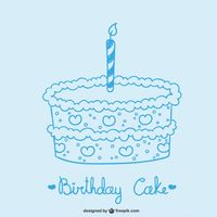 Birthday cake drawing Free Vector