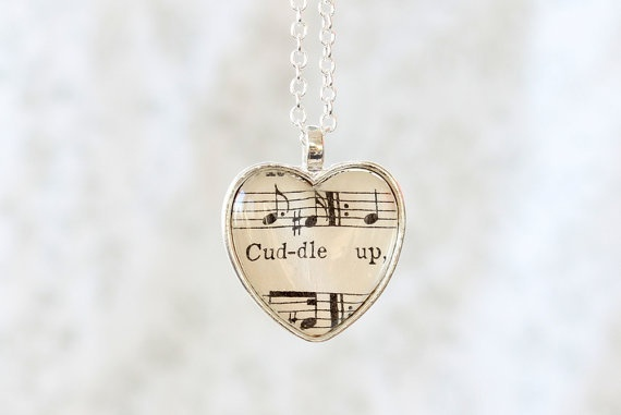 Cuddle Up Sheet Music necklace.  Romantic and unique gift for girlfriend, fiance, wife, musician, music lover.  Silver heart necklace.