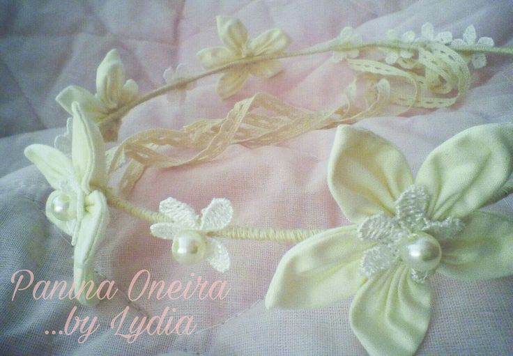 Handmade bridal flower crown with lace and pearls!!