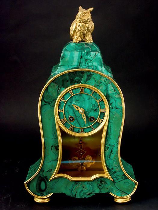 Russian malachite clock