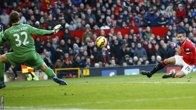 Robin van Persie gives Man Utd the lead  Manchester United scored three first-half goals to beat bottom side Leicester and move up to third place in the Premier League table.
