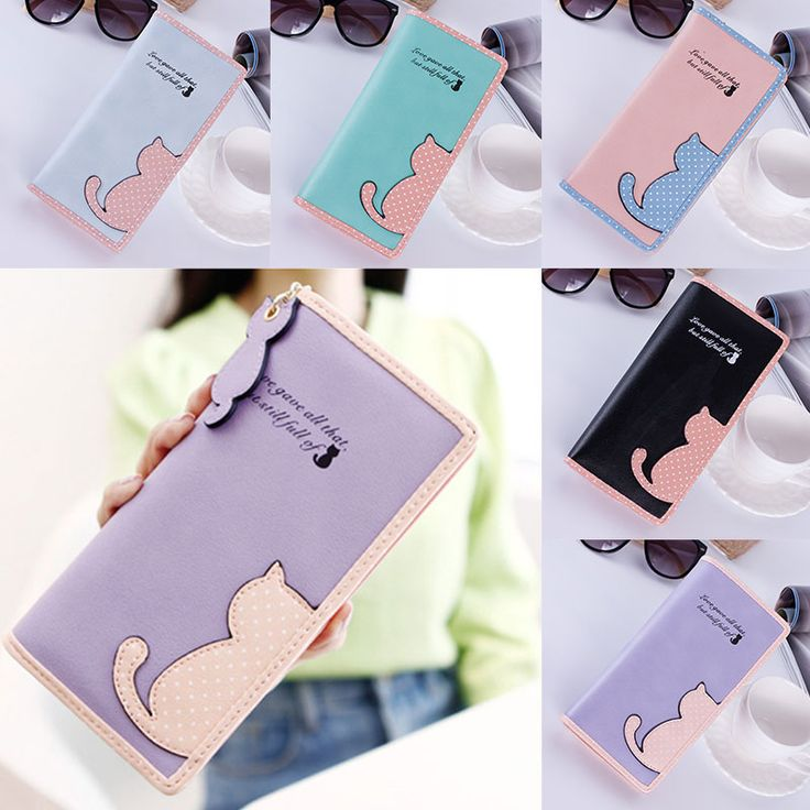 New Women Wallets Long Section Female Cute Cat Hit Color Wave Point Zipper Wallet Student Purse
