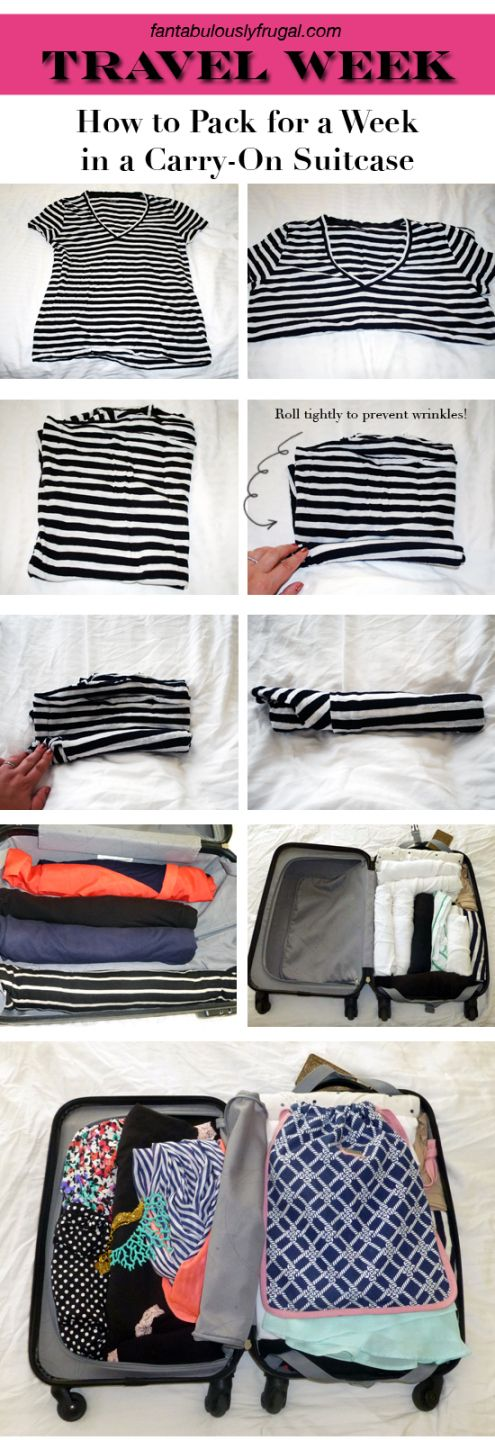 How to Pack for a Week in a Carry-On Suitcase; I hate check on luggage! Such a hassle! This is a great idea!