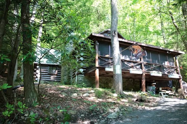 Rentals In The Poconos: Bushkill Pristine Waterfront Log Cabin with Private Beach - Sleeps 9 in Beds
