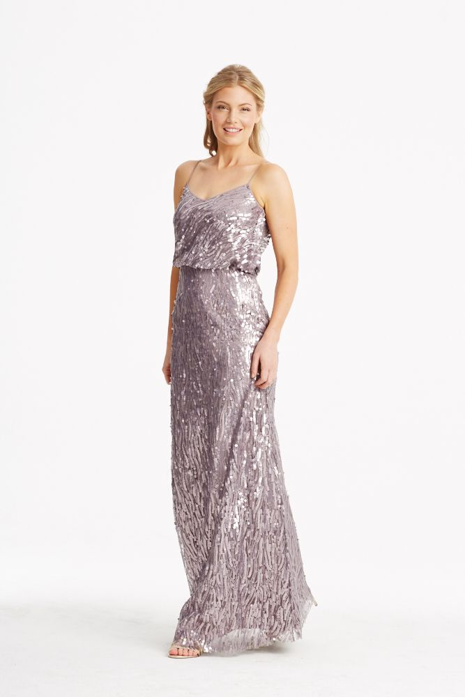 521 best donna morgan collection images on pinterest for Purple and grey wedding dresses