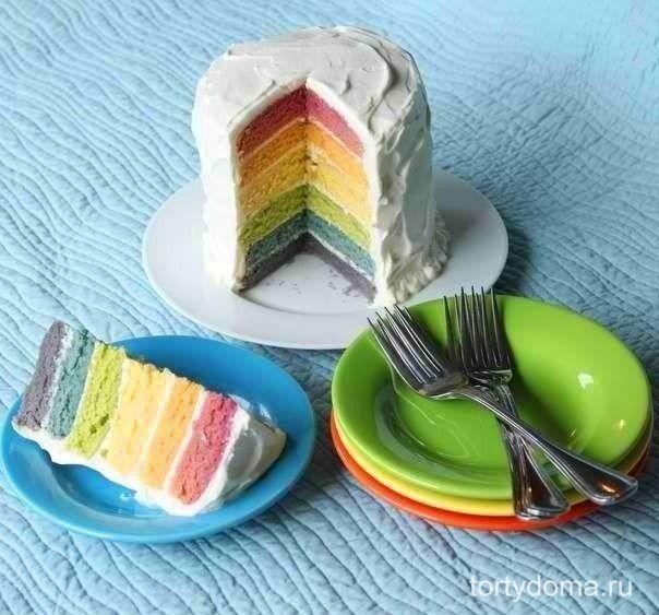 Торт Радуга с натуральными красителями.  Всегда нравилась идея торта с разноцветными бисквитами, но останавливало использование в рецепте искусственных красителей,тогда этот рецепт для вас!  Ингредиенты: Сок свеклы – 1-2 столовых ложки Сок морковки – 1 столовая ложка Желток – 1 шт Сок шпината – 1 столовая ложка Сок черники – 1 столовая ложка Сок ежевики – 1 столовая ложка  Для торта: Мука – 3,5 стакана Разрыхлитель – 2 чайных ложки Сода – ½ чайной ложки Сахар – 1,75 стакана Сливочное масло –…