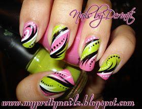 My Pretty Nailz: Bright Pink & Green Hand Painted Tribal Nail Art Design - freehand nail art, handpainted nail art, exotic nail art, urban n...