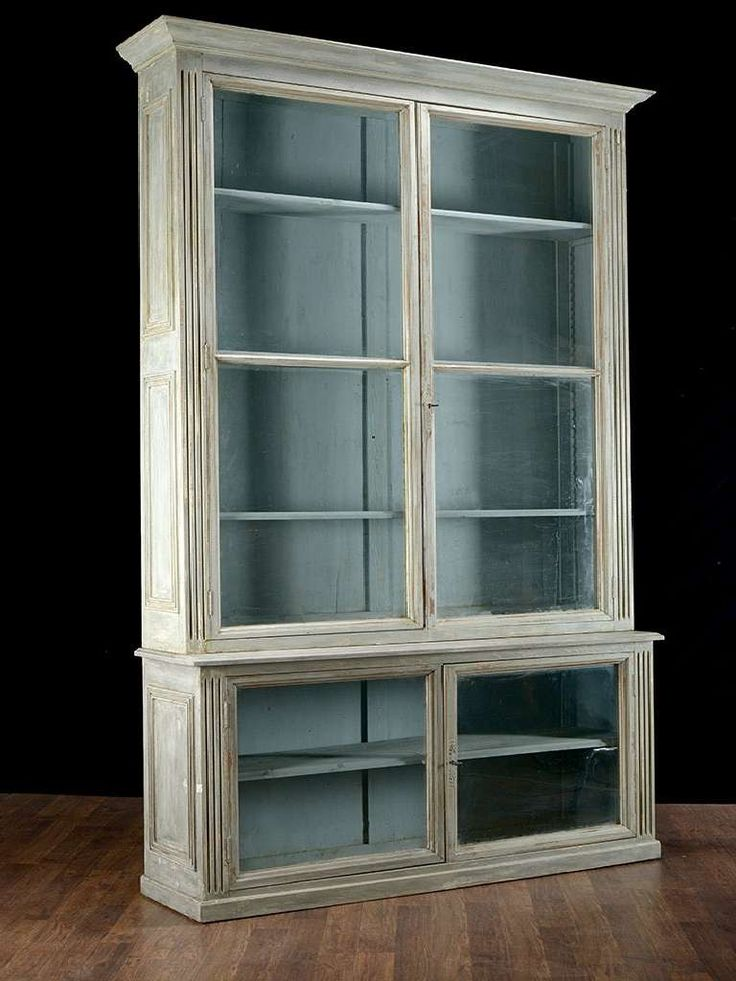pair of antique glass door bookcases