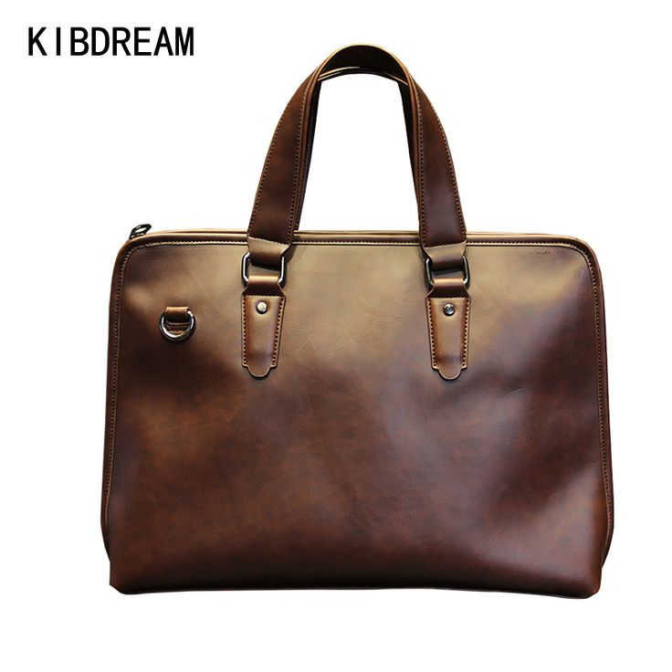 KIBDREAM Vintage Men Briefcase Handbags Business bag Portfolio Casual Leather Men Briefcase Male Laptop Bag Office Work Bag