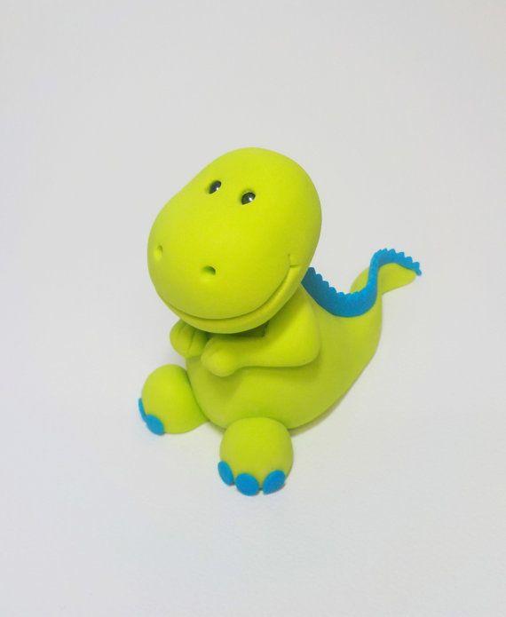 Lime Green Dinosaur Fondant Cake Topper 1st by CakeTopperChic
