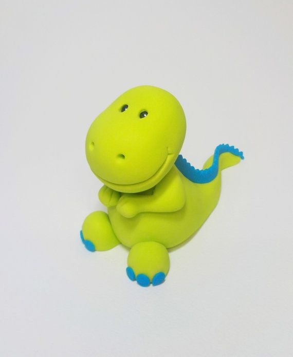 Lime Green Dinosaur Fondant Cake Topper 1st von CakeTopperChic