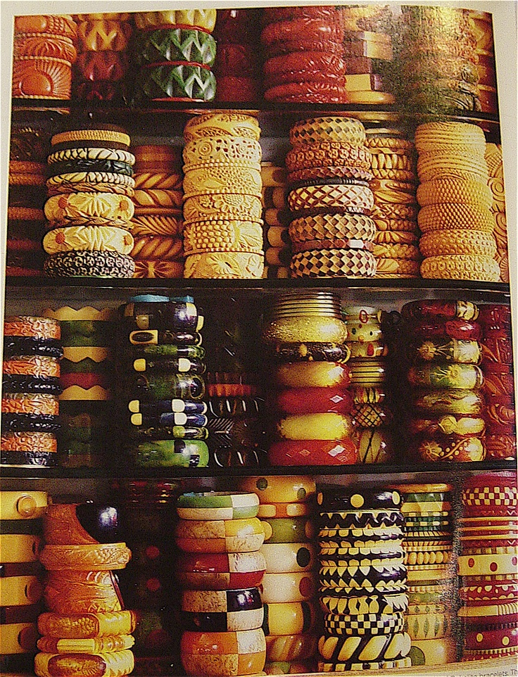Amazing collection of bakelite bangles.