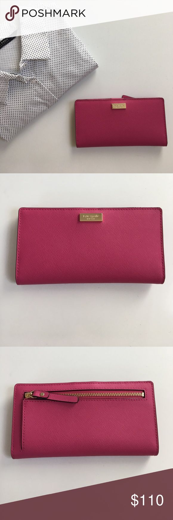"""{ Kate Spade } wallet Kate Spade Wallet in pink with gold colored hardware, back zipper pocket, snap button closure with lots of CC and bill slots, ID slot and cute material lining in areas (see pictures). Such a cute color and wallet! Measures laying flat approx 6.75"""" w x 3.6"""" h x .75"""" d kate spade Bags Wallets"""