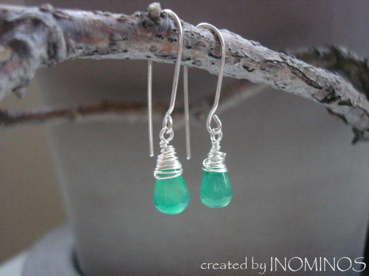 Green Agate Drop Earrings, Heart Chakra Earrings from INOMINOS by DaWanda.com