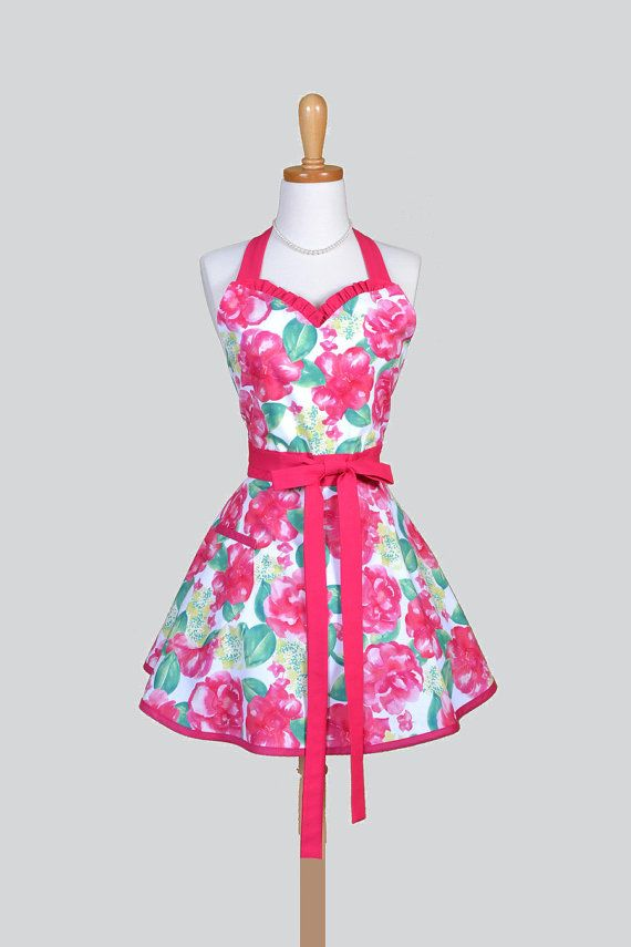 sweetheart apron retro vintage summer love from dear stella bright pink rose floral flirty kitchen apron - Cooking Aprons