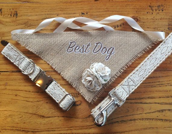 Beautiful Vintage Inspired Best Dog Wedding Attire Set. Adjustable Lace Dog  Collar and Leash with Hessian Burlap Rose Bud Neck Scarf - The 25+ Best Dog Wedding Attire Ideas On Pinterest Dog Wedding