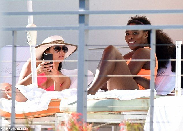 Dynamic duo: Eva Longoria and Serena Williams were spotted enjoying a day by the pool in M...