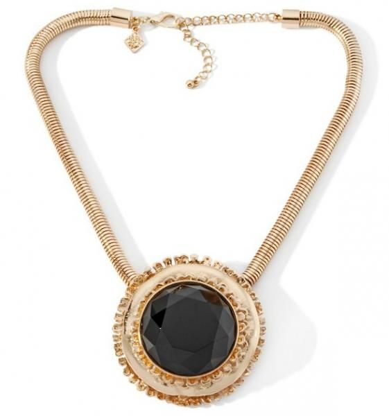 Round Black Stone Necklace from My HSN Collection
