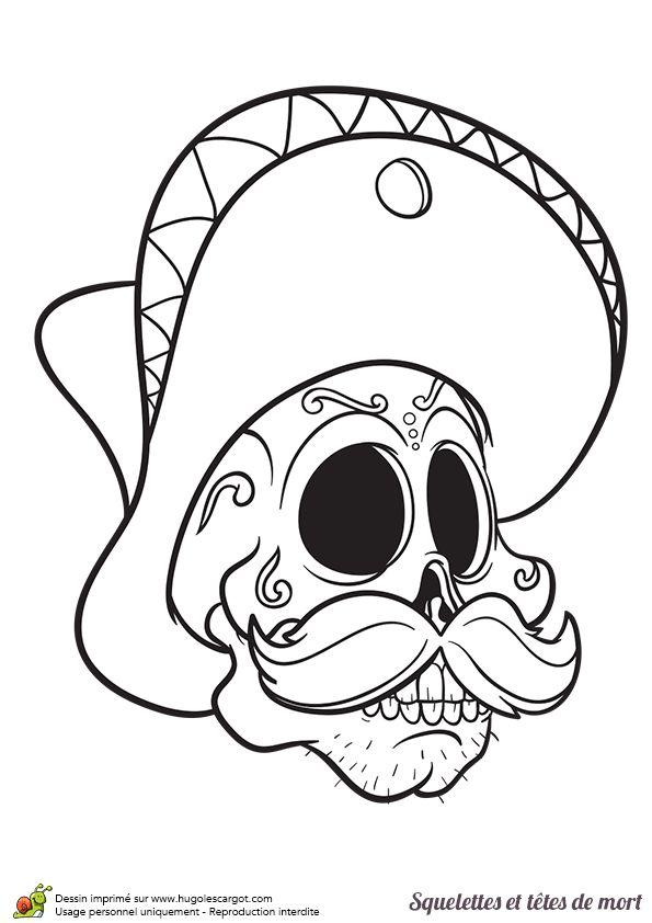 T te de mort avec un sombrero colorier coloriages et activit s pour halloween pinterest - Coloriage de crane ...