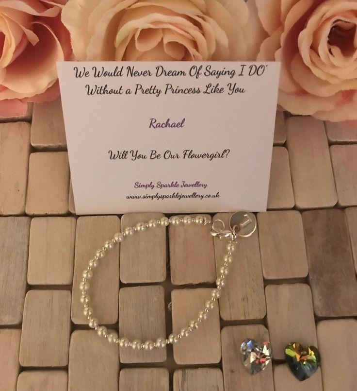 Will you be my flower girl  bracelet gift £11.00, Sterling Silver, Flower girl , Flower girl  thank you gift, wedding gift, pearl bracelet, Sterling silver bracelet, meaning bracelet, thank you, wedding gift idea.