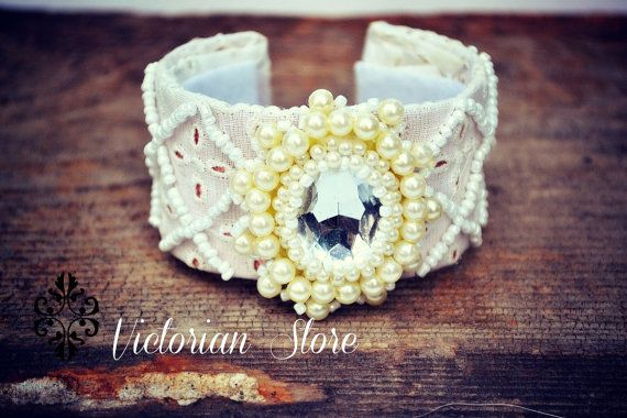 Great bride bracelet with pearls,lace embroidery and ,beads embroidery
