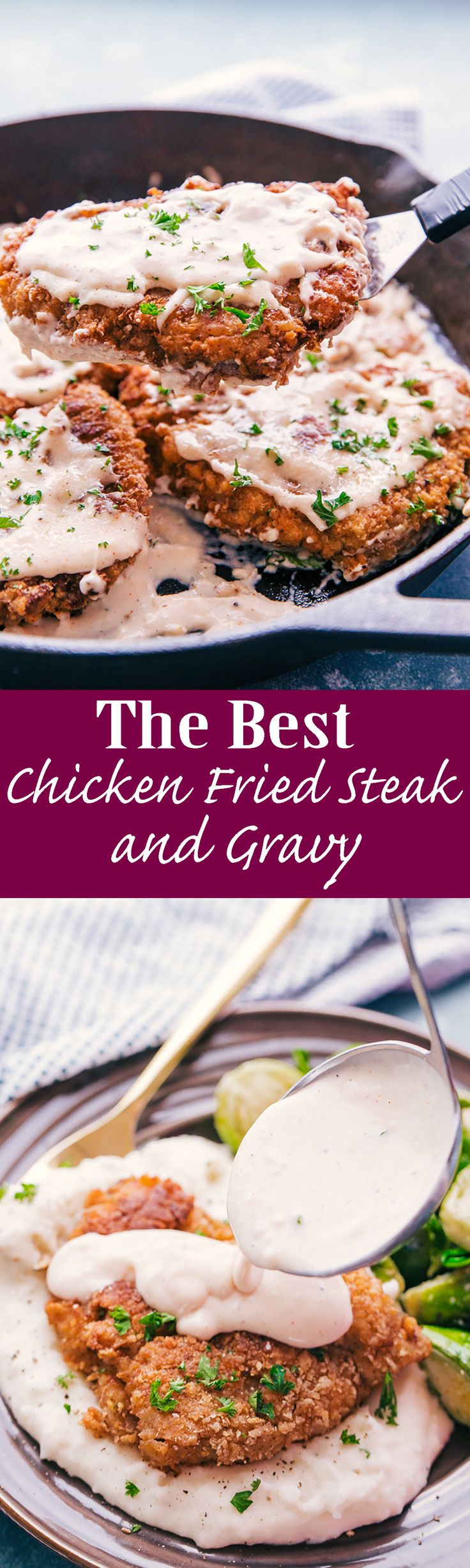 The Best Chicken Fried Steak and Gravy - The Food Cafe  This Chicken Fried Steak and Gravy is fried to a crisp perfection and doused in warm creamy gravy over mashed potatoes, this is comfort food at its best.