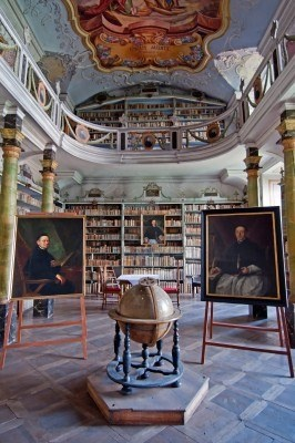 Inside the old Monastery Library in Broumov. CZECH REPUBLIC.