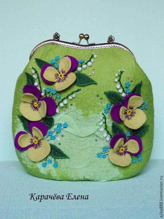 """Купить Сумка """"Весенний сад"""" - зеленый, цветочный, сумка ручной работы, сумка валяная, весна"""