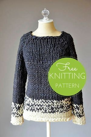 Transitions Sweater FREE Knitting Pattern - chunky grey and white raglan sweater (hva)