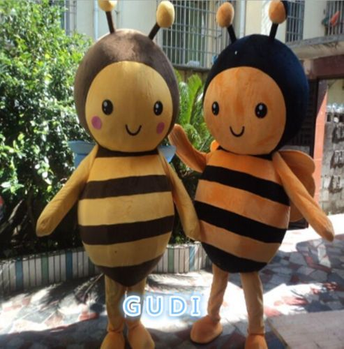 Cute little bee cartoon mascot costumes Halloween party adult size Free Shipping