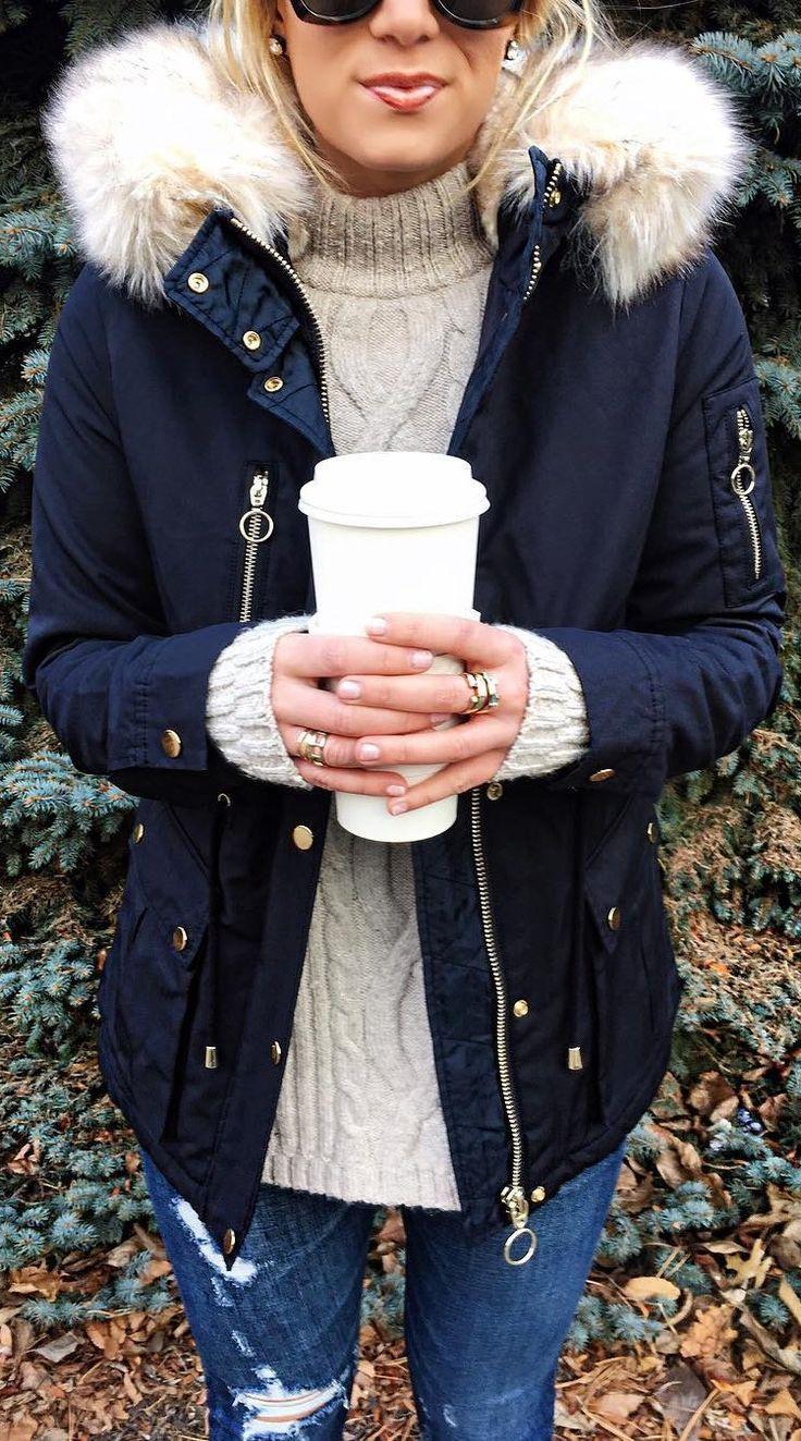 #winter #fashion /  Black Jacket / Grey Wool Turtleneck / Ripped Skinny Jeans