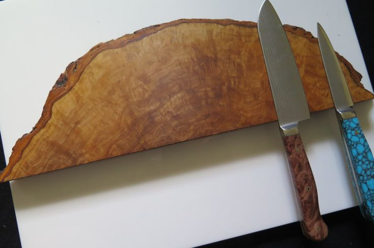 "14"" Mediterranean olive wood burl magnetic knife holder, knife rack, with mounting hardware handmade, exotic wood by EEKnives on Etsy https://www.etsy.com/ca/listing/399748245/14-mediterranean-olive-wood-burl"