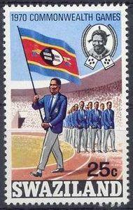 Parade of Swaziland team with flag bearer