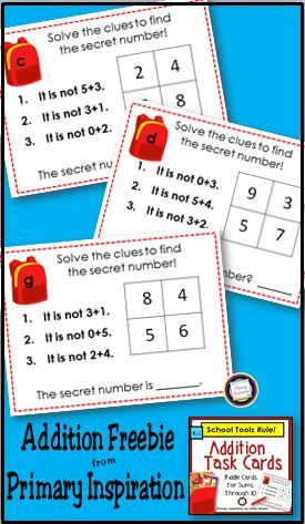 FREE! Task cards for addition, with a little bit of reasoning and logic, too! https://www.teacherspayteachers.com/Product/Addition-Task-Cards-School-Tools-Math-Riddles-1987454