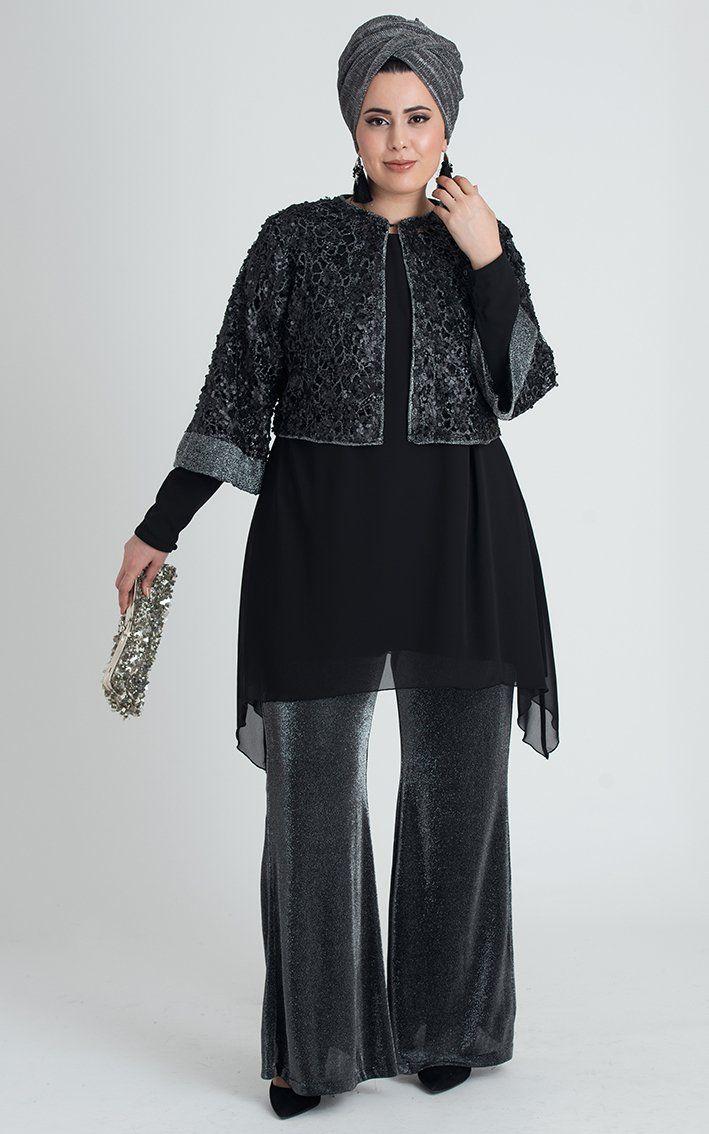 Nesrin Emniyetli Vera Tunik Pantolon Ceket 3 Lu Takim Gumus Siyah Mutevazi Kiyafetler Elbise Moda Stilleri