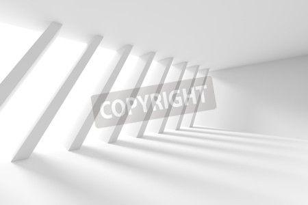 3 d イラストレーションは od ホワイト インテリア デザインです。ウィンドウと列を持つ空の部屋。抽象的なアーキテクチャの背景