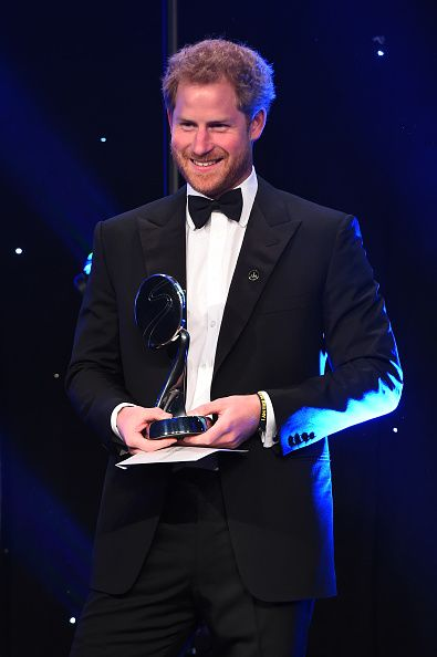 Prince Harry presents Outstanding Contribution to Sport Award to Judy Murray and son Jamie at the BT Sport Industry Awards 2016 at Battersea Evolution on April 28, 2016 in London, England.