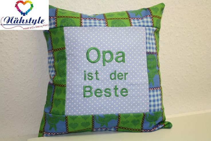 Opa Kissen grün  ca. 30 x 30 cm von Naehstyle via dawanda.com