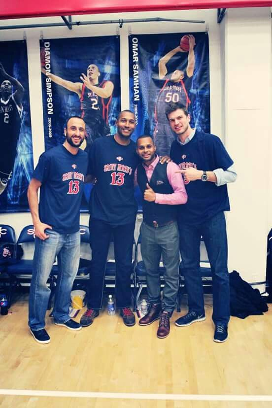 Spurs players were at St. Marys College to see Patty Mills #13 Jersey get retired. Spurs Manu Ginobili, Boris Diaw & Tiago Splitter.