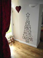 ALBERO di Natale Adesivo Parete Vinile, pace, Noel, Santa Clause, al vischio ETC