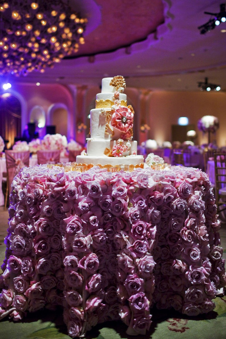 John & Joseph Photography Inc., purple flowers, wedding cake, floral arrangements, table setting, wedding reception, luxury cake, table linens, decadent desserts