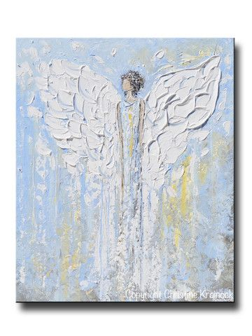 """""""Angel Beside You"""" ORIGINAL #art, abstract, guardian #angel painting depicting heavenly angel watching over & protecting. This hand-painted, figurative piece possesses not only a comforting sense of peace and calm, but with its' soothing shades of blue & textured layers of paint, it also contains a vintage, stylish, organic feel, perfect for any decor. Done in a palette of white, grey, taupe, pale gold, pale blue, mixed media acrylic original sold, avail as prints. -By Artist, Christine…"""
