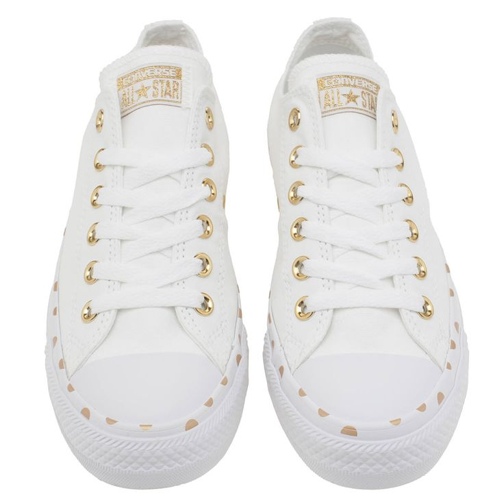 womens converse white & gold all star polka dot ox trainers