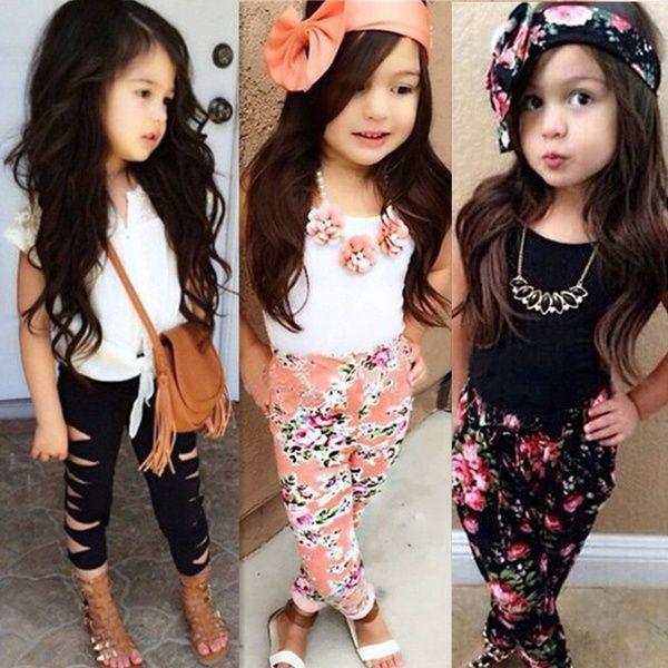 Wish | Nouvelle mode fille nouveau-née ensemble de vêtements Dentelle blanche T-shirt veston + Floral Pantalon Crayon Costume Vêtements enfants