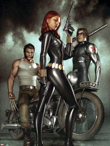 Black Widow: Deadly Origins No.1 Cover: Black Widow, Bucky and Wolverine Kunststof borden van Adi Granov bij AllPosters.nl