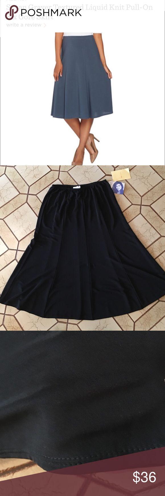 Susan Graver 6 panel gored knit skirt NWT Susan Graver slinky net six panel Gord skirt. Gorgeous soft slinky material. Elastic pull on waist.  Skirt is brand-new with tags Susan Graver Skirts